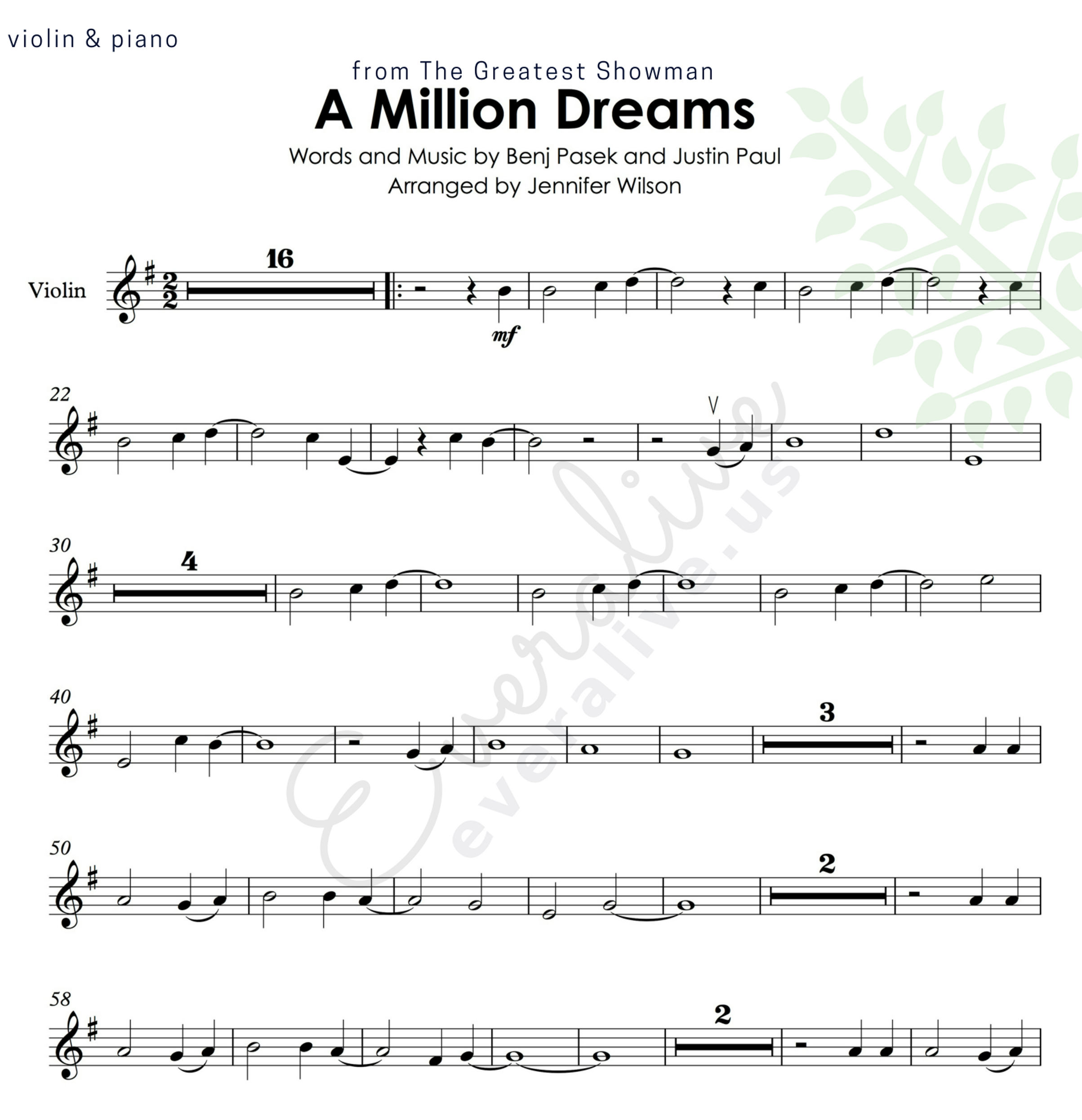 A Million Dreams From The Greatest Showman Easy Violin And Piano Arrangement Violin Amilliondream Digital Sheet Music Violin Sheet Music Choral Sheet Music