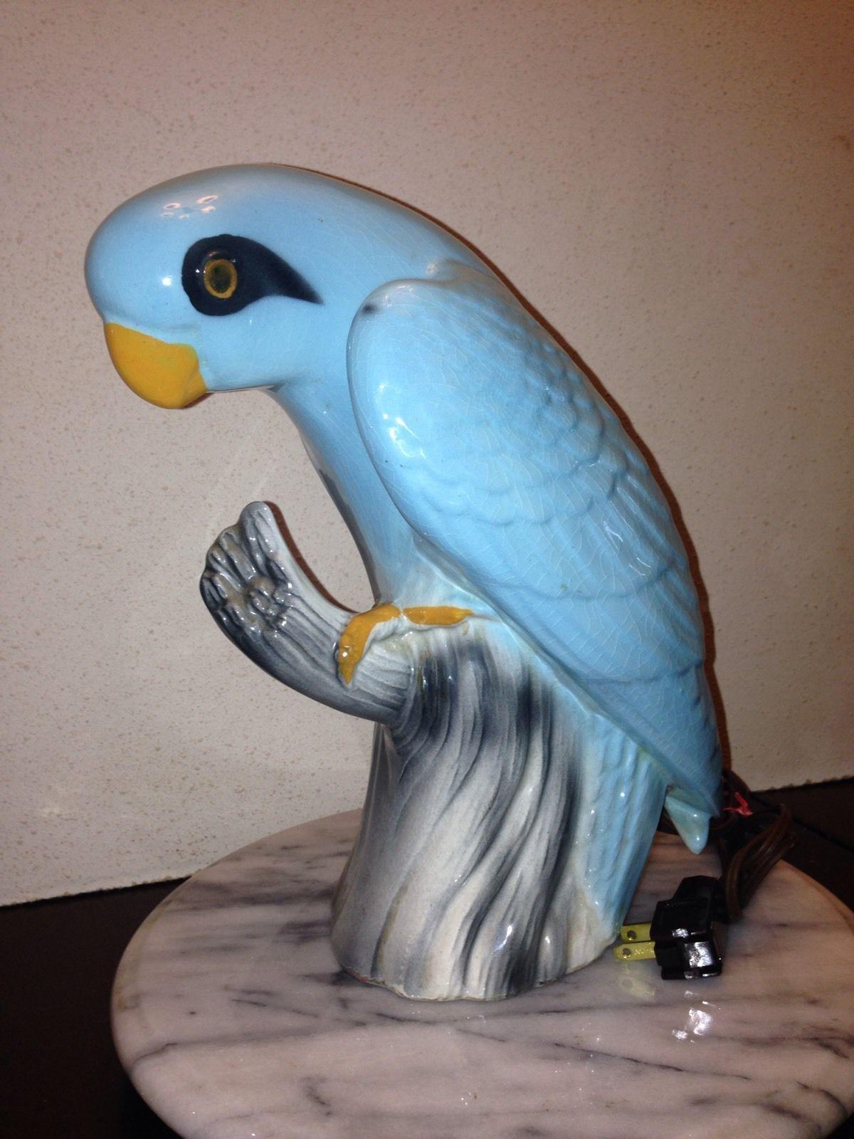 Very RARE Vintage 1950's Claes Blue Parrot TV Lamp Light ...