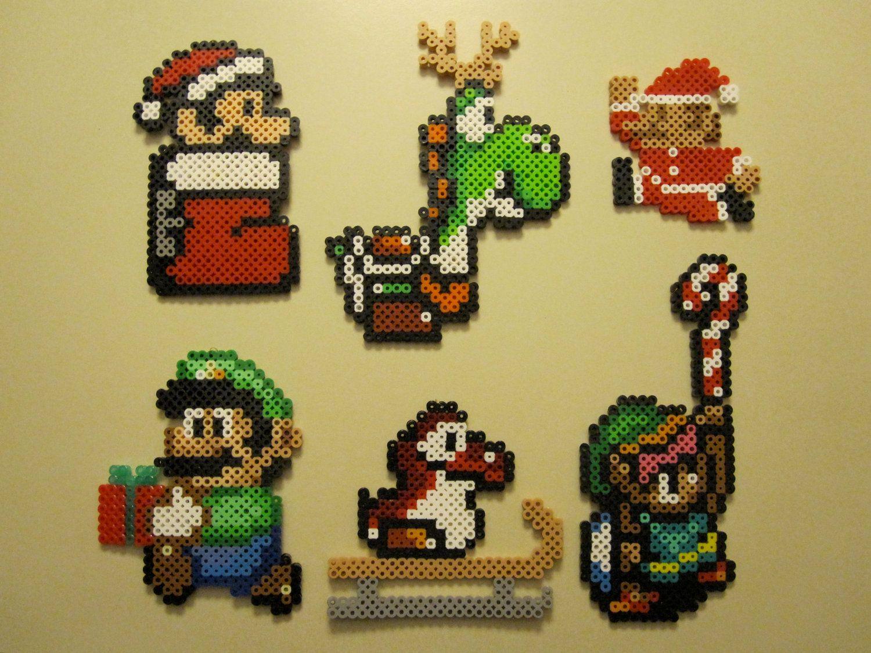 COMPLETE SET of 10 Handmade Nintendo Christmas Ornaments | Pixel art ...