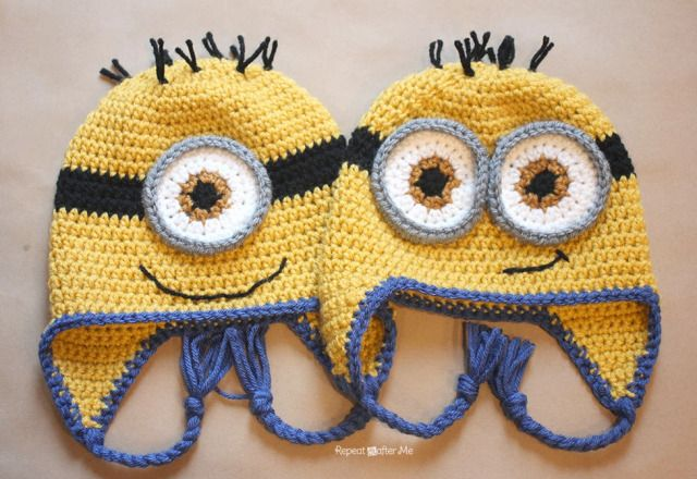 8b3cd2af18c Crochet Minion Hat Pattern - Repeat Crafter Me - I made the toddler size  and the kid size