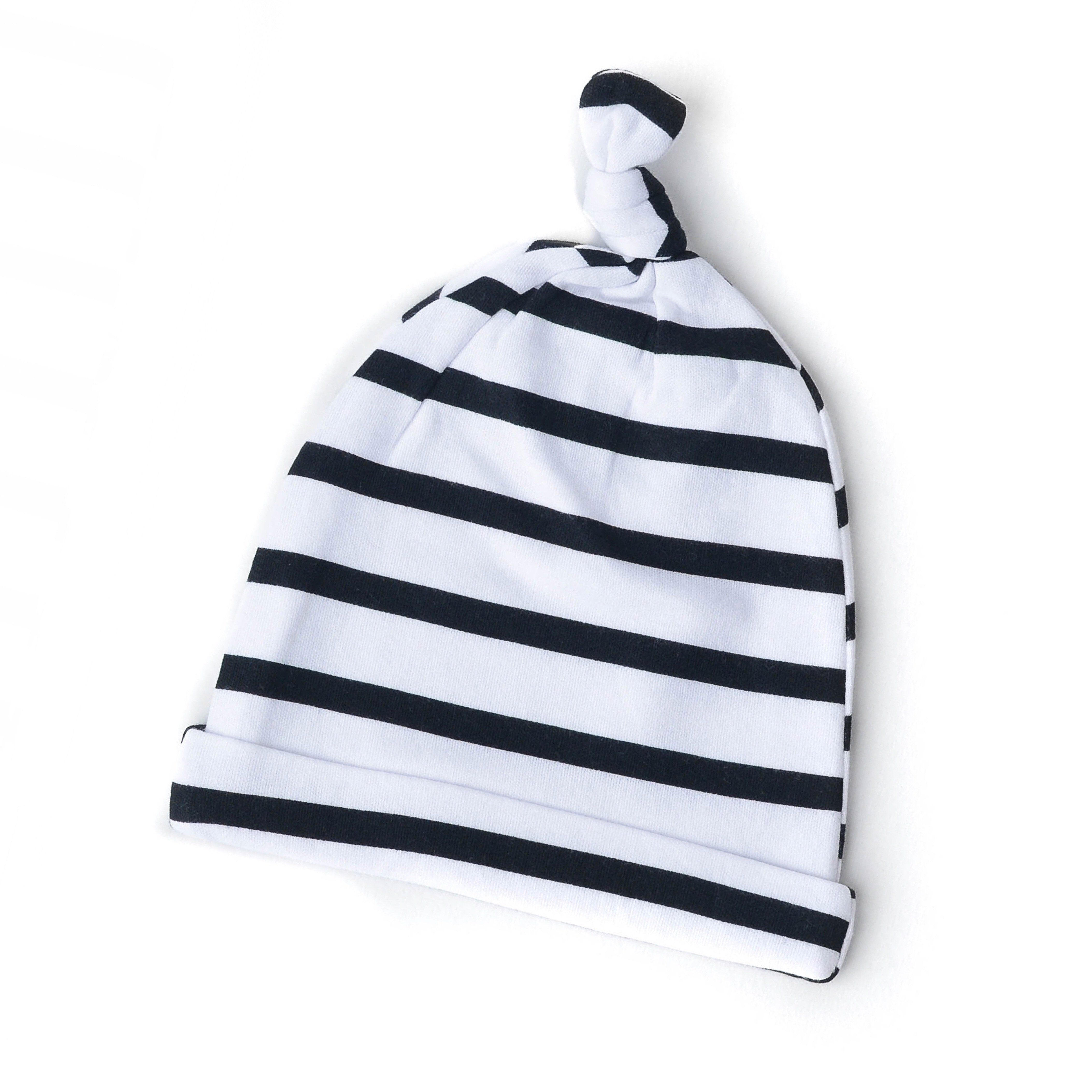 black and ivory stripe gown unisex baby gown take home outfit, Baby knotted gown in Charlie stripe with matching Black hat or headband