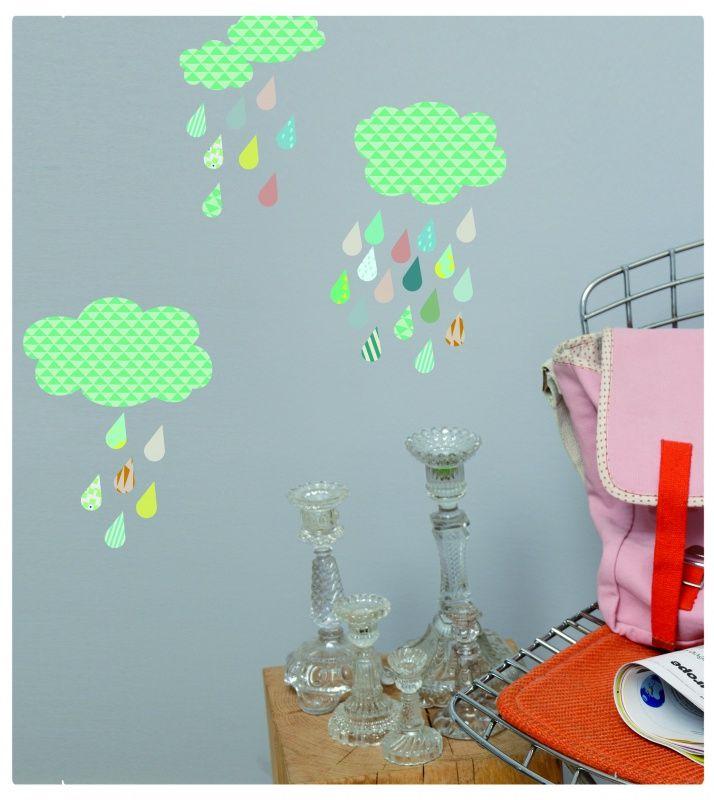 Muursticker wolken met druppels