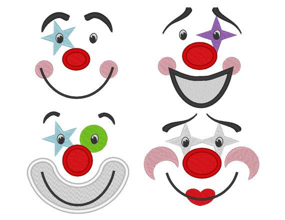 adorable clown faces for your toy machine embroidery and