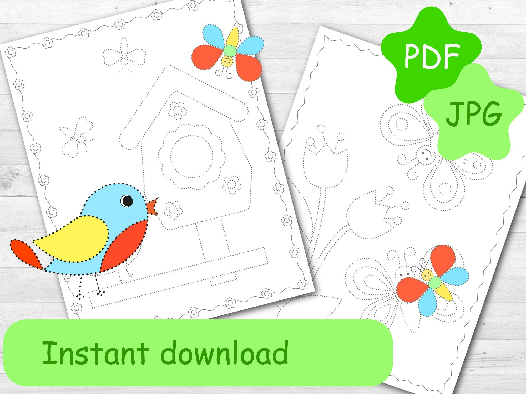 Printable Tracing Spring Coloring Pages Worksheets For