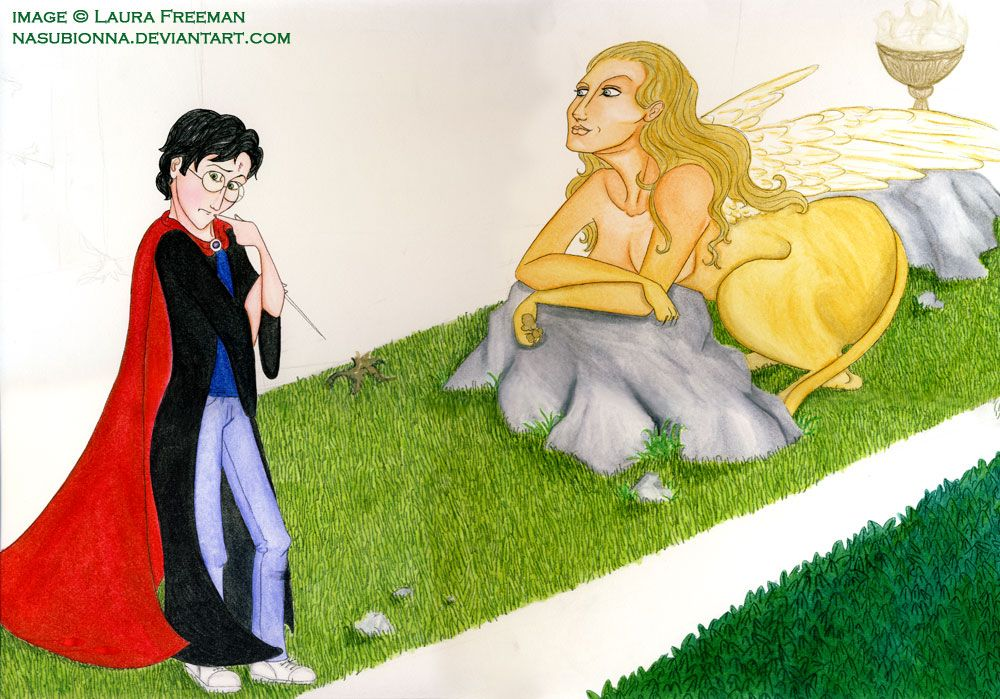 Sphinx Old Unfinished Drawing Of Harry Ponder The Sphinx S Riddle In The Triwizard Tournament Hedge Maze Challenge Drawn In 20 Sphinx Triwizard Harry Potter