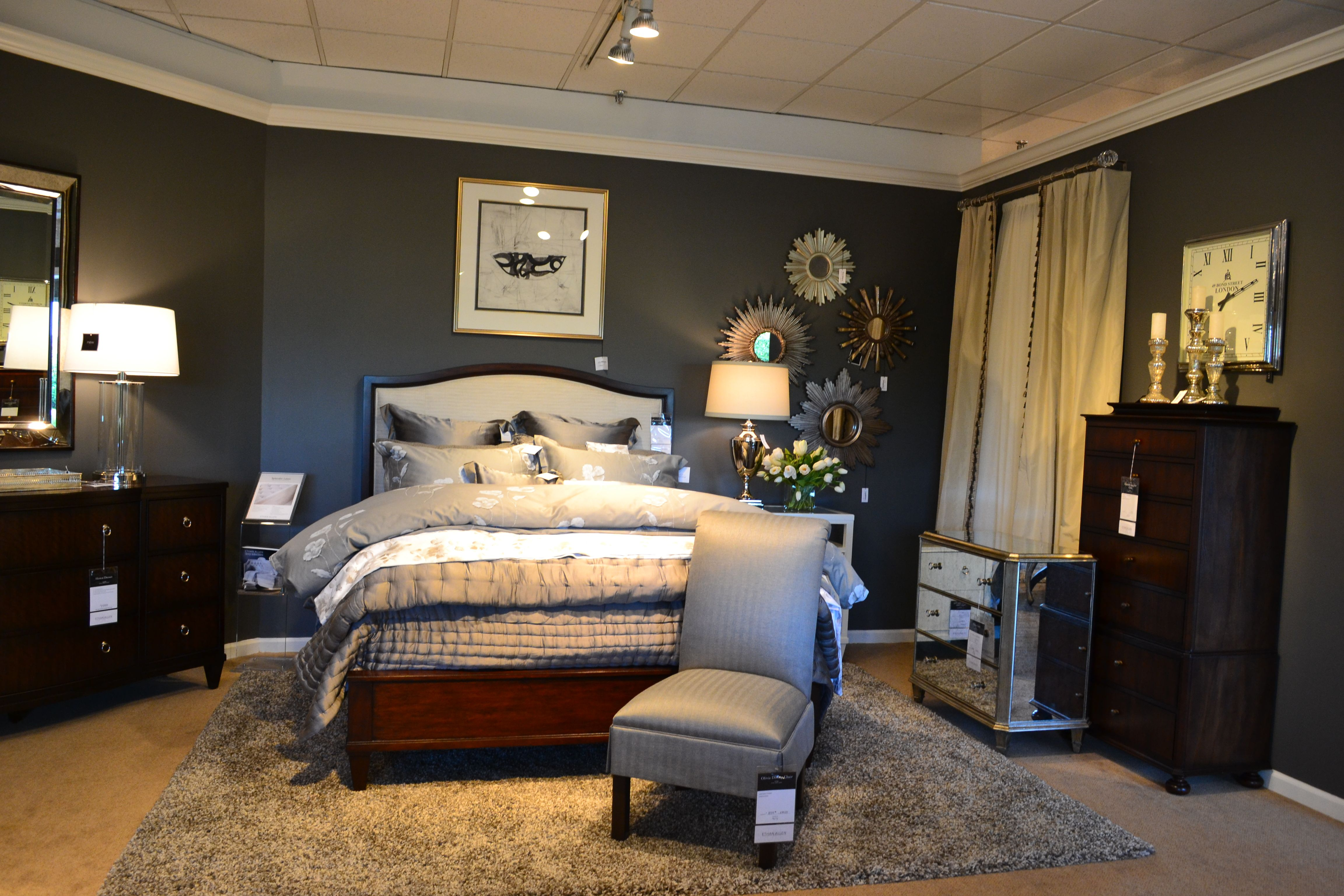 New Modern Glamour Heston Collection Tables And Dressers With Charlton Upholstered Panel Bed Ethan Allen