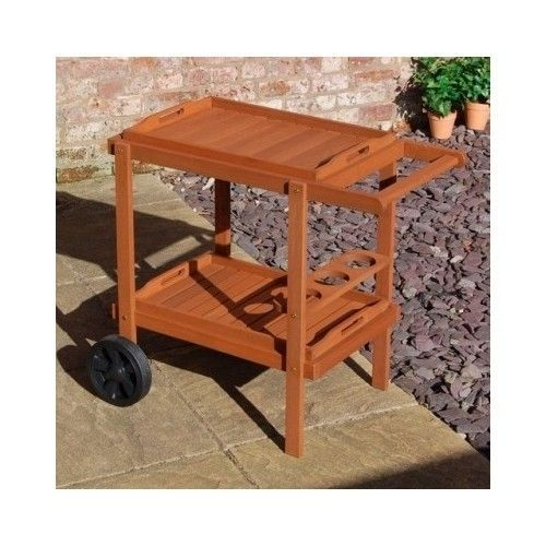 Outdoor Drinks Bar Trolley Garden Party Table Wooden Patio Serving Cart  Trays