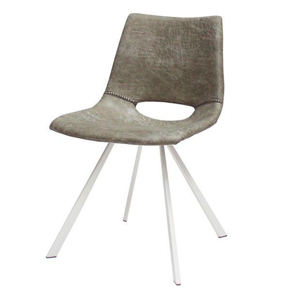 Design Stuhl FIRENZE Mikrofaser Grau Weiß