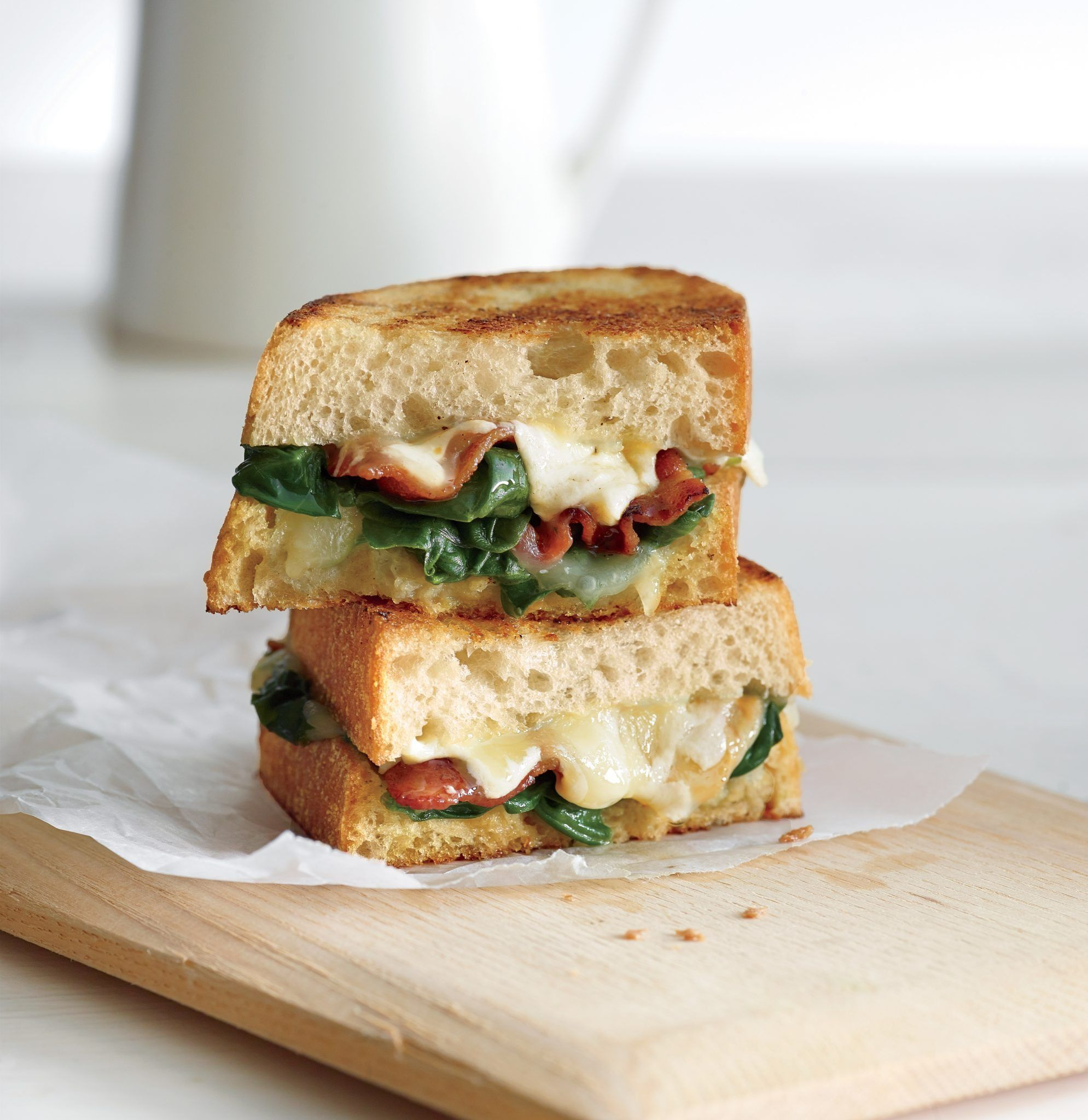 Recipe: Garlicky Bacon & Spinach Grilled Cheese
