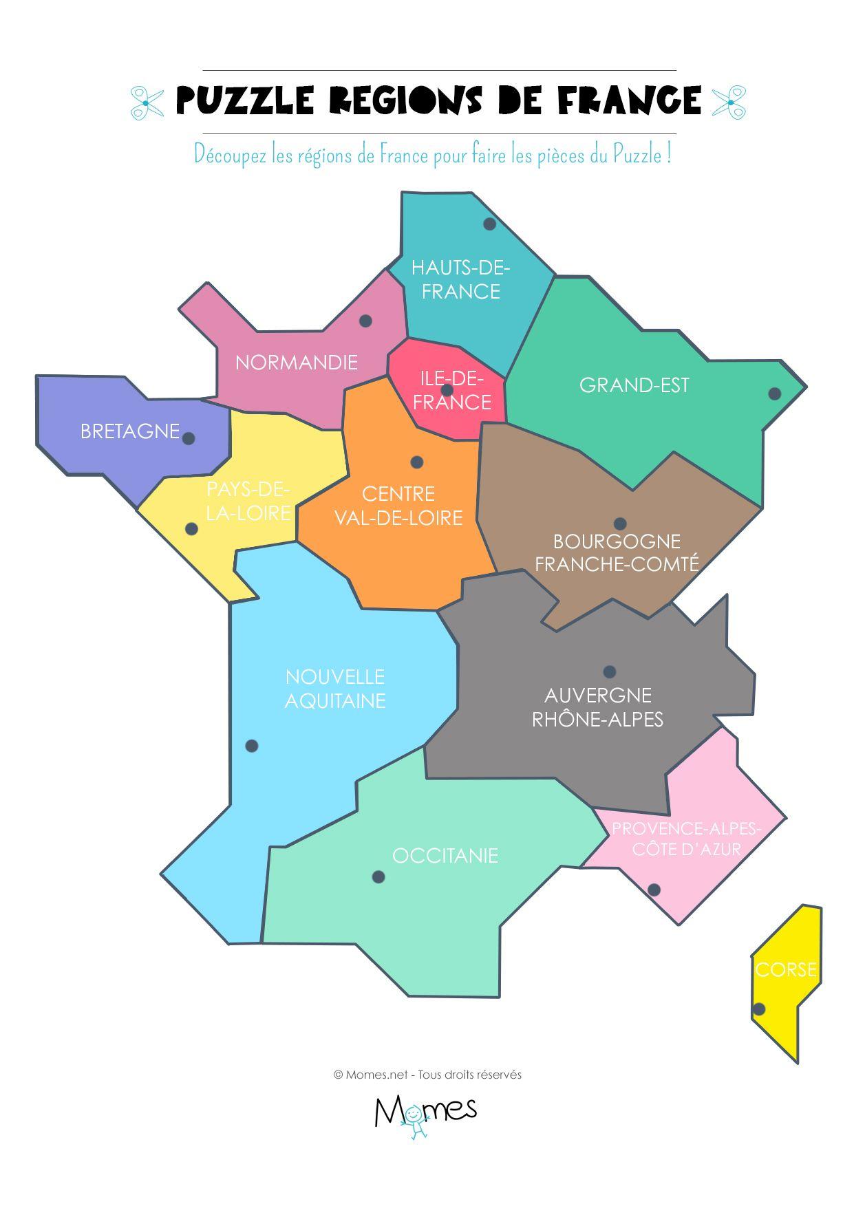 Carte Des Regions De France A Imprimer En Puzzle