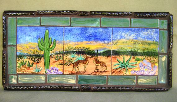 Singing Desert Coyote Mural Ceramic Glazed Tile Southwest Sunset Saguaro Cactus Rustic Tile Frame Indoor Outdoor Ready Desert Painting Mural Tile Murals