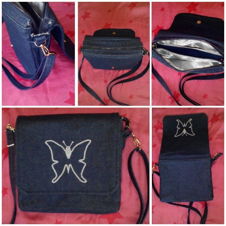 Джинсовая сумочка из контурной вышивкой бабочки бисером