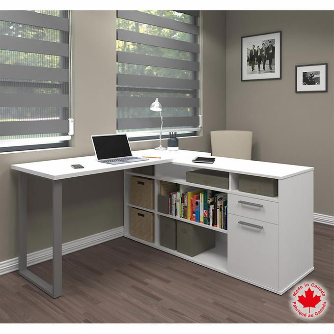 Simple L Shaped Desk With Shelf Storage $350.