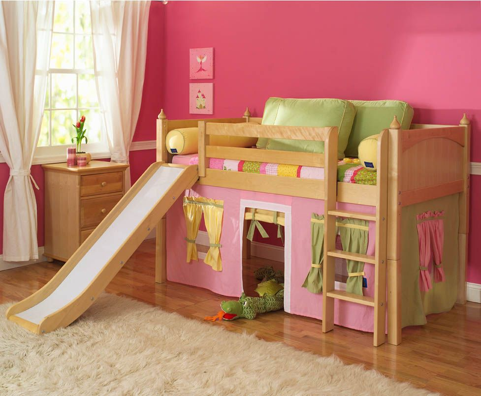Bunk bed with slide for boys - Playhouse Low Loft Bed W Slide By Maxtrix Kids Pink Yellow Green