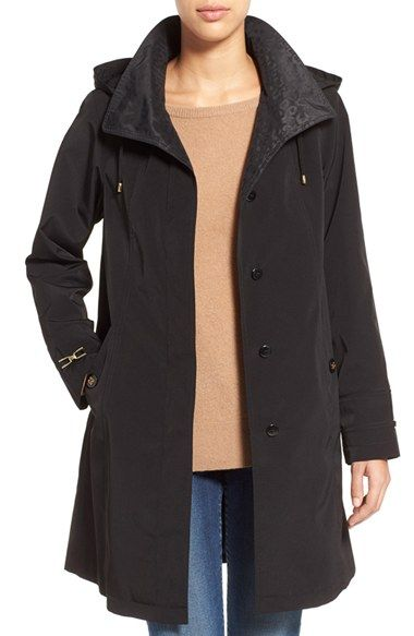 8560cc7c5c8 Gallery Two-Tone Silk Look A-Line Raincoat available at  Nordstrom ...