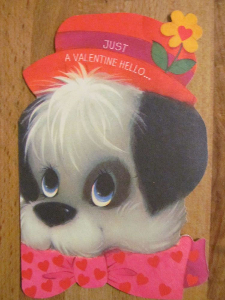 Vintage Hallmark Valentine's Day Card, Fluffy Dog