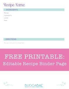 Free Printable Editable Recipe Binder Page Recipe Binder Recipe Binder Template Free Printable Recipe Page