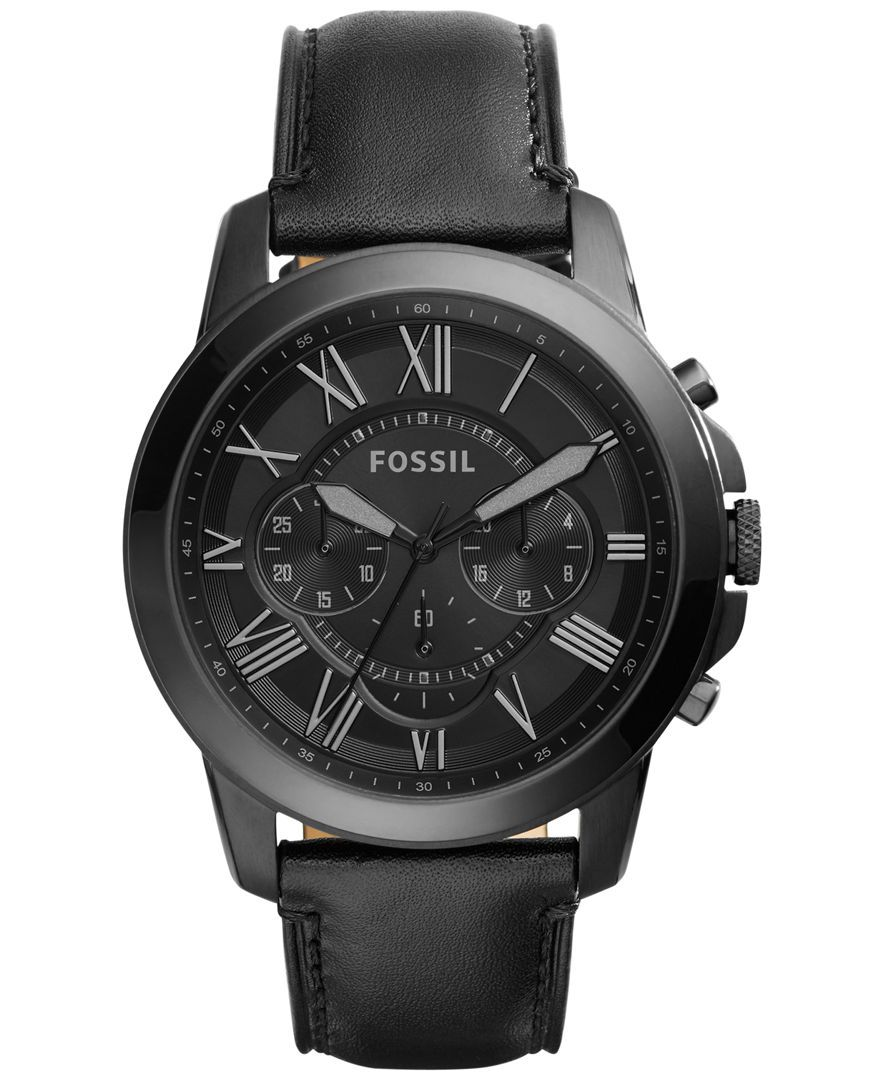 Fossil Men s Chronograph Grant Black Leather Strap Watch 45mm FS5132 -  Men s Watches - Jewelry   Watches - Macy s 4b0d84a7e3b2