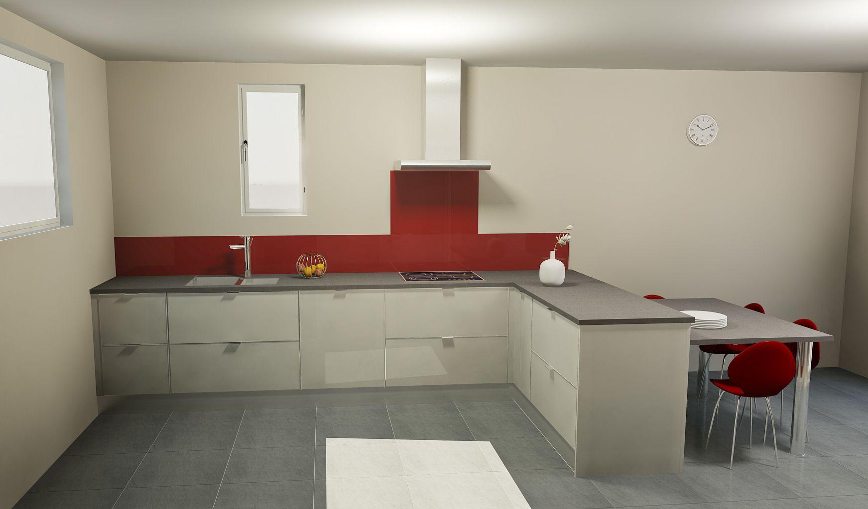 Conception d\'une cuisine, façade en verre laqué gris, plan de ...