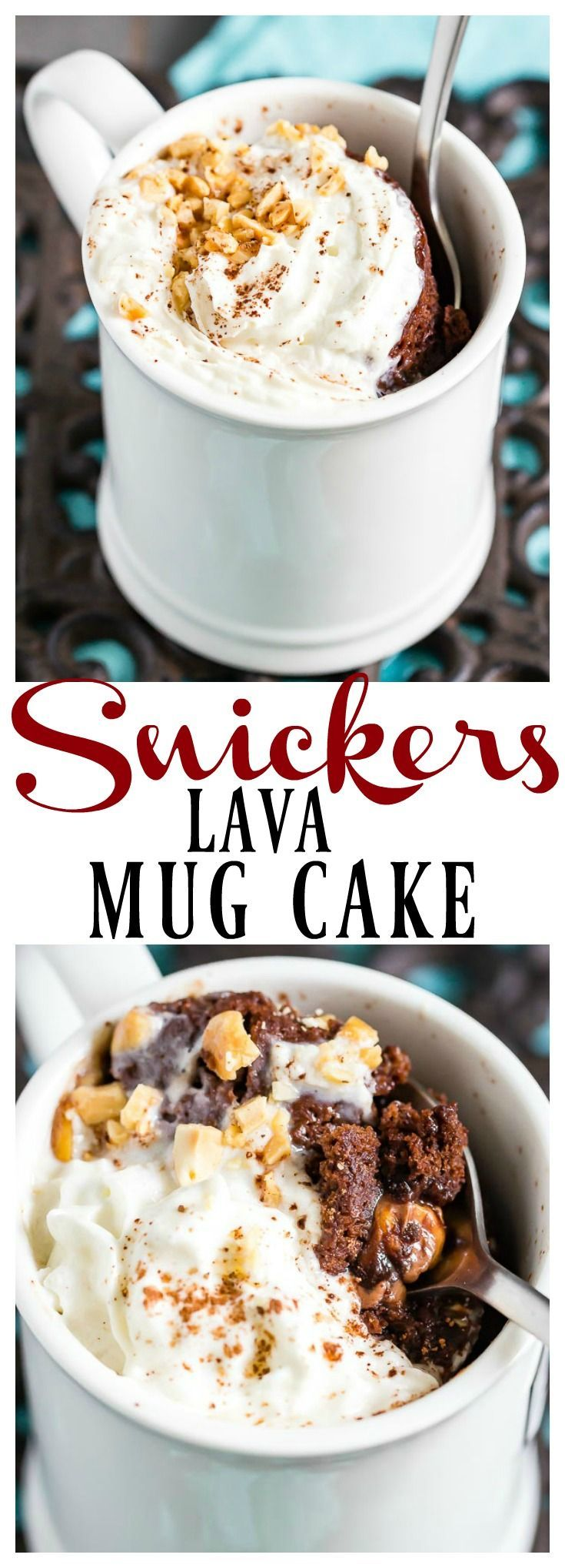 Snickers Lava Mug Cake with recipe video. A great way to ...