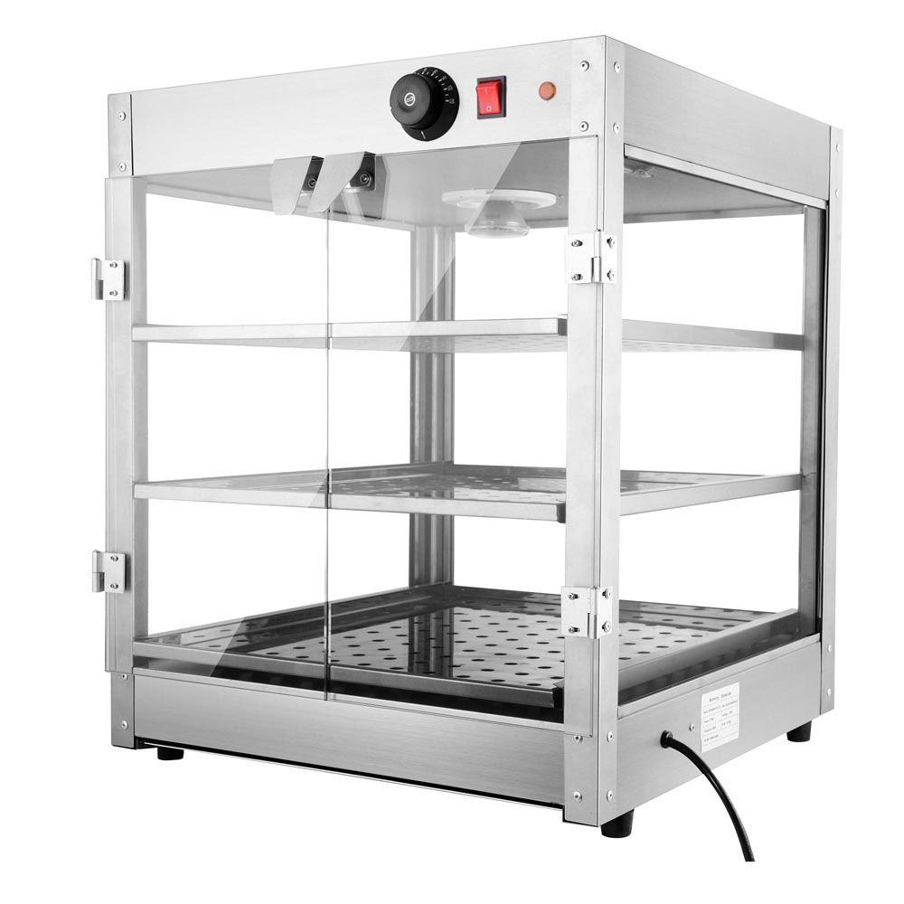3 tier food warmer display case pizza