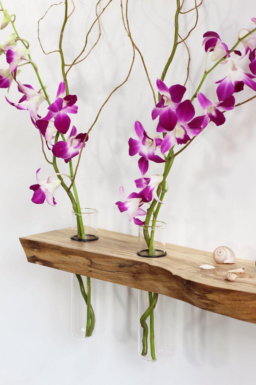 Floating shelf, altar, vases, Ming Tang, Feng Shui, side table, live edge, wood slab, small furniture, spa, yoga, mala beads, meditation by PetrichorWoodDesign on Etsy
