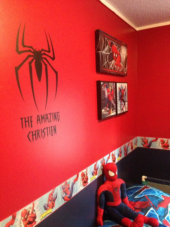 """These personalized Superhero decals are the perfect accent to any room! The Spider decal is approx.. 11"""" tall by 8"""" wide. Name will vary"""