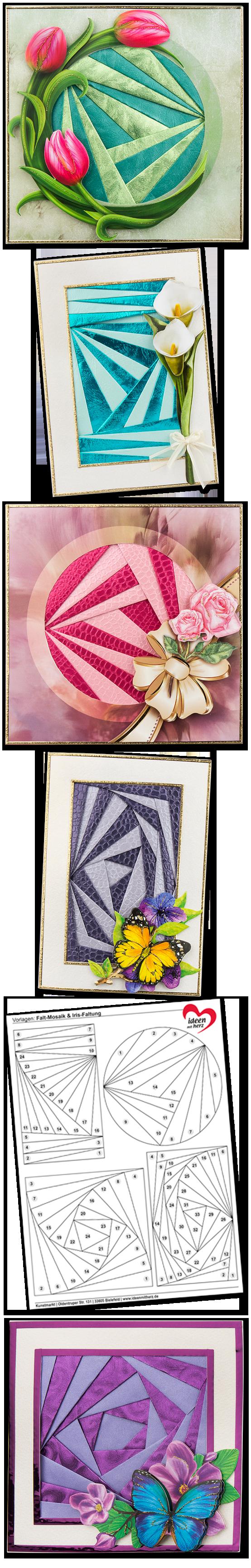 falt mosaik iris faltung anleitung mit vorlagen f r gru karten in verschiedenen formaten. Black Bedroom Furniture Sets. Home Design Ideas