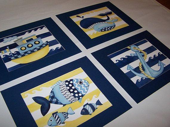 Oceanside yellow blue nautical wall art by theprincessandpea, $21.00