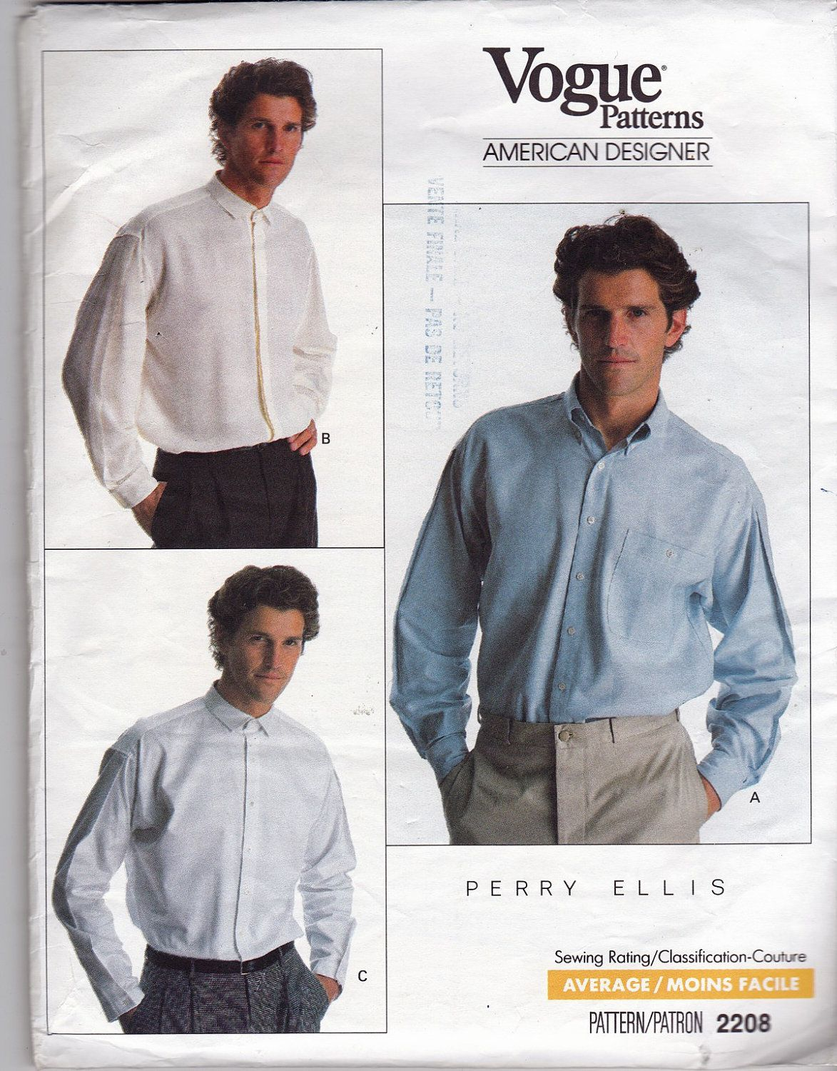 Vogue pattern 2208 perry ellis american designer mens man shirt items similar to vogue american designer 2208 perry ellis loose fitting classic shirt uncut factory folded sewing pattern size on etsy jeuxipadfo Images