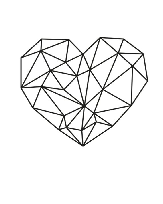 Geometric Heart Printable Digital Printable Wall Art Instant