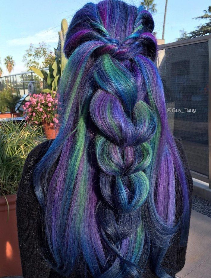 20 Blue And Purple Hair Ideas Peacock Hair Color Hair Styles Purple And Green Hair