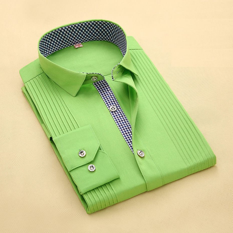 Click to buy ucuc menus dress shirt solid color contrasted placket