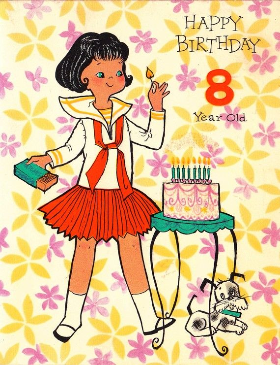 Vintage 1960s Happy Birthday 8 Year Old Card B4a