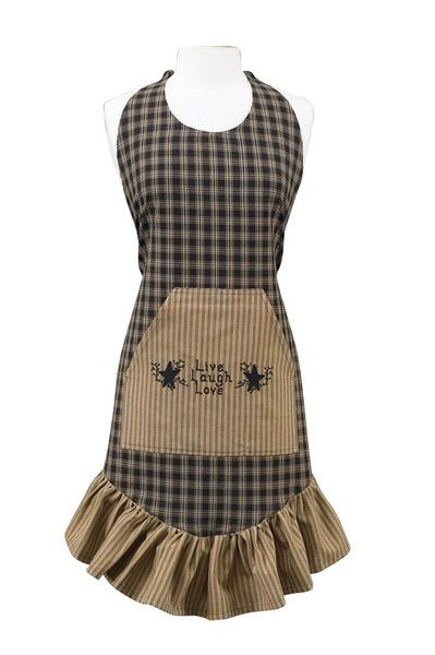 Love this country apron!  Sturbridge black plaid apron at www.pinehillcollections.com