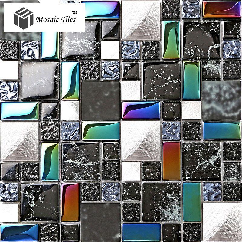 tst metal glass black tile iridescent stone marks printings