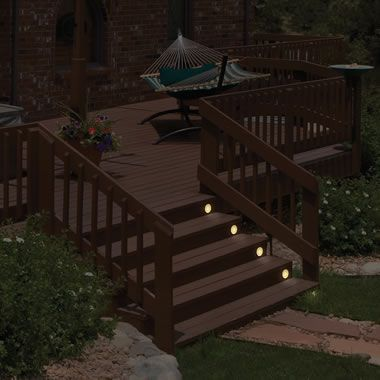 The Flush Mount Solar Stair Lights Hammacher Schlemmer Solar Deck Lights Stair Lights Deck Lights Solar deck lights flush mount