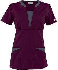 ua best buy scrubs contrast v neck four pocket scrub top
