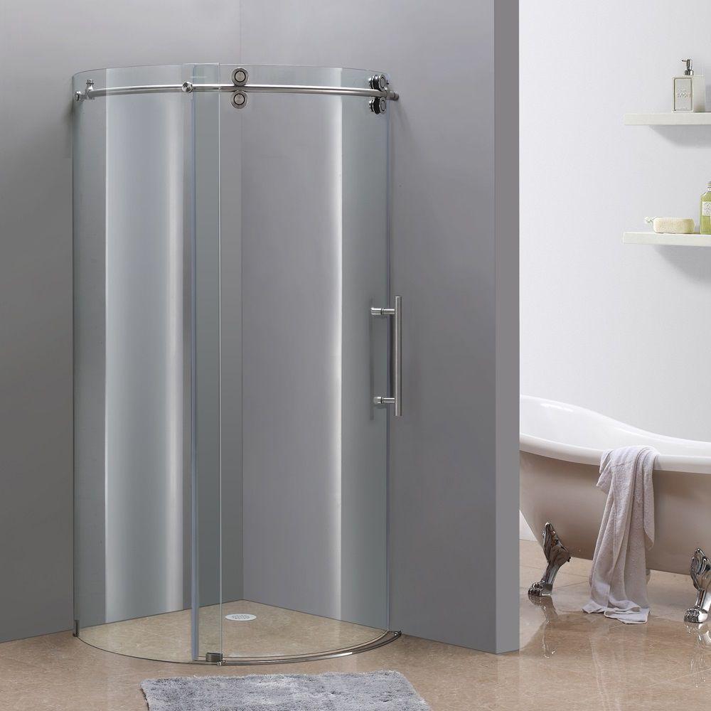 36 Inch X 36 Inch Frameless Round Shower Stall In Stainless Steel Shower Enclosure Frameless Shower Enclosures Frameless Shower