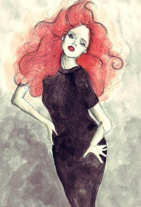 la rouquin by Dixie Leota | for-redheads - fashion illustration ...