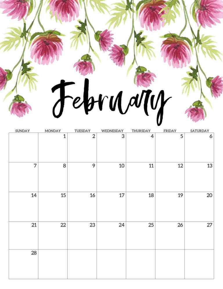 Free Printable 2021 Floral Calendar Paper Trail Design In 2020 Print Calendar Diy Calender Calendar