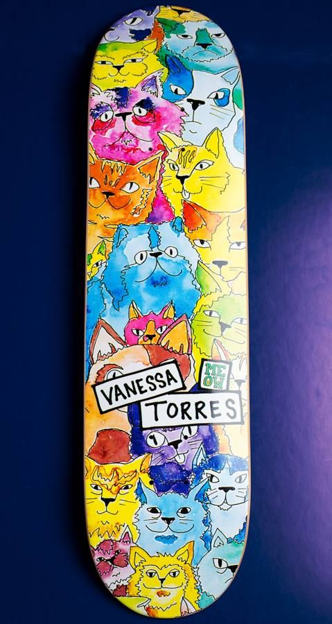 "thedailyboard: ""Vanessa Torres meow mix skateboard deck by Meow Skateboards The Daily Board: follow 