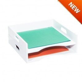Stacking Trays Packs) White painted finish Includes two stackable trays Ideal for 12 in x 12 in cm x cm) craft paper storage Compatible with modular ...  sc 1 st  Pinterest & Stacking Trays (2 Packs) www.go-organize.com/craft-storage-solutions ...