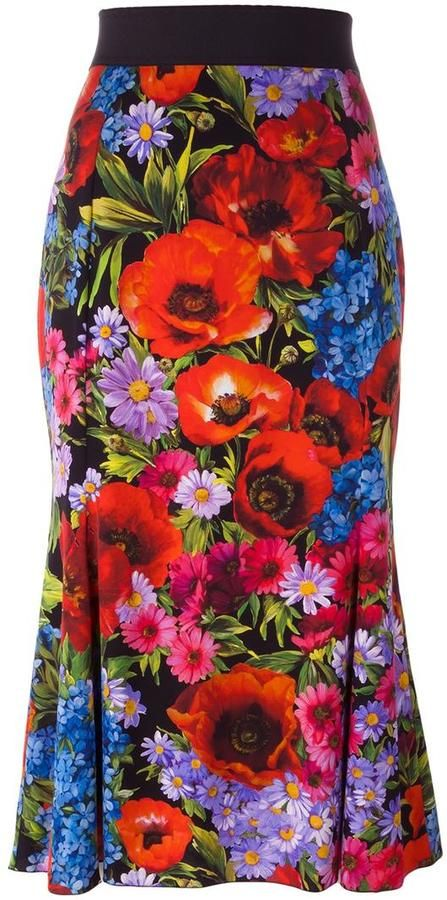 Dolce   Gabbana floral poppy print skirt 76972e8403