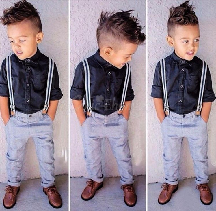 2PC Toddler Baby Kids Boy Soft Shirt Tops+Long Pant Clothes Gentleman Outfit Set