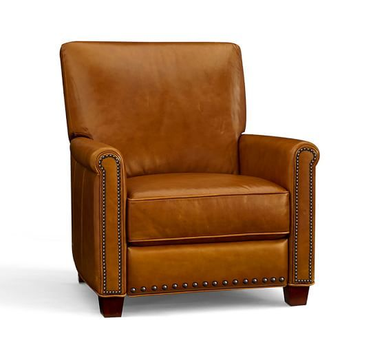 Irving Roll Arm Leather Recliner With Nailheads Leather