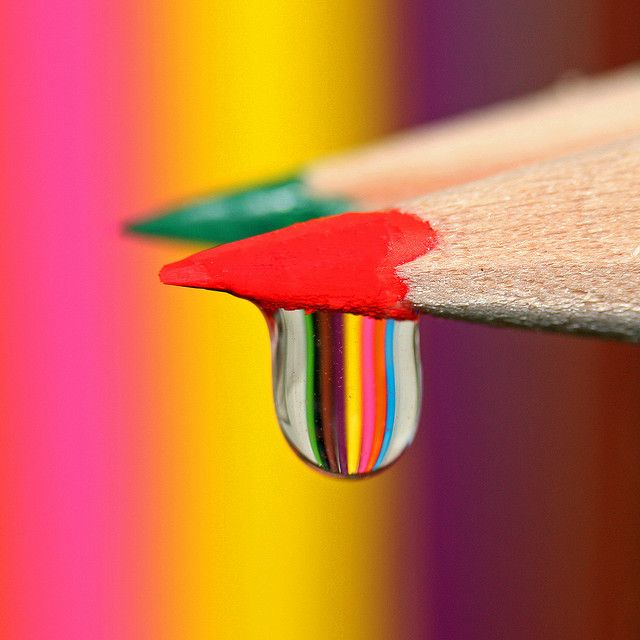Rainbow drops colored pencil drawing