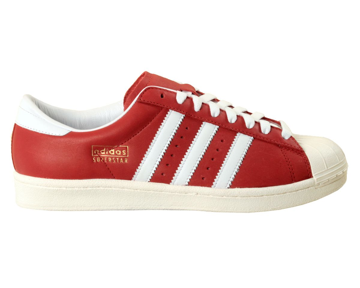 size 40 c5fbc 14e54 Adidas Superstar Vintage Red White Leather Retro Trainers ...