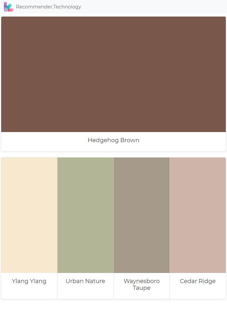Hedgehog Brown Ylang Ylang Urban Nature Waynesboro Taupe Cedar Ridge Brown Color Palette Nature Color Palette Paint Color Palettes