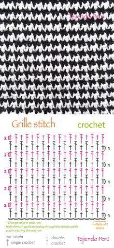 Crochet: grille stitch or pied de poule diagram (pattern or chart ...